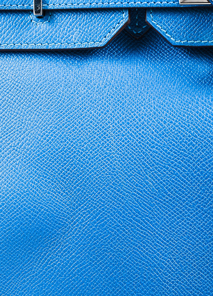 "Hermes Bleu de Galice Epsom Leather Palladium Hardware ""Birkin"" Bag Detail 5"