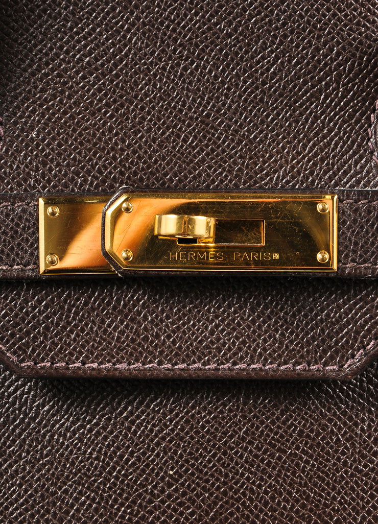 "Chocolate Brown and Gold Toned Hermes Epsom Leather 35 cm ""Birkin"" Bag Detail 5"