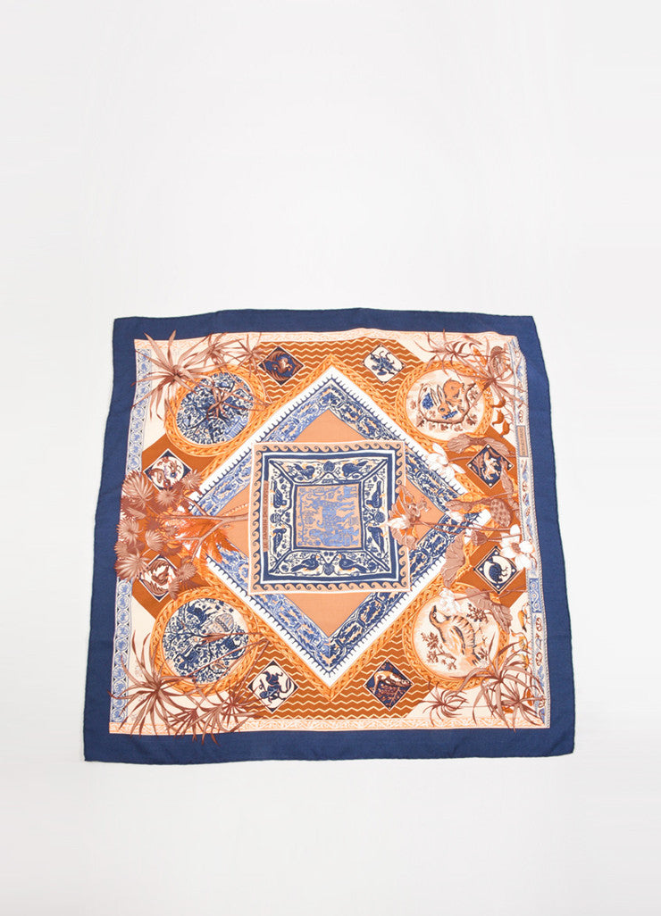 "Hermes Navy and Brown Cashmere and Silk ""Le Jardin des Copte"" Exotic Print 90cm Scarf Frontview"
