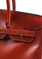"Hermes Oxblood Red Box Calf Leather 35cm ""Birkin"" Handbag Detail 4"