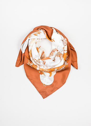 "Hermes Rust Orange and Cream ""Apres Le Deluge"" Animal Print Square Scarf Frontview"