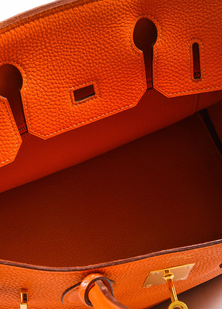 "Hermes Tangerine Orange Clemence Grain Leather Top Handle ""Birkin 30"" Tote Bag Interior"