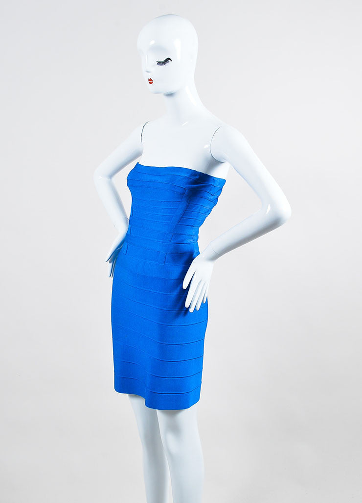 Cobalt Blue Herve Leger Bandage Paneled Strapless Bodycon Mini Dress Sideview