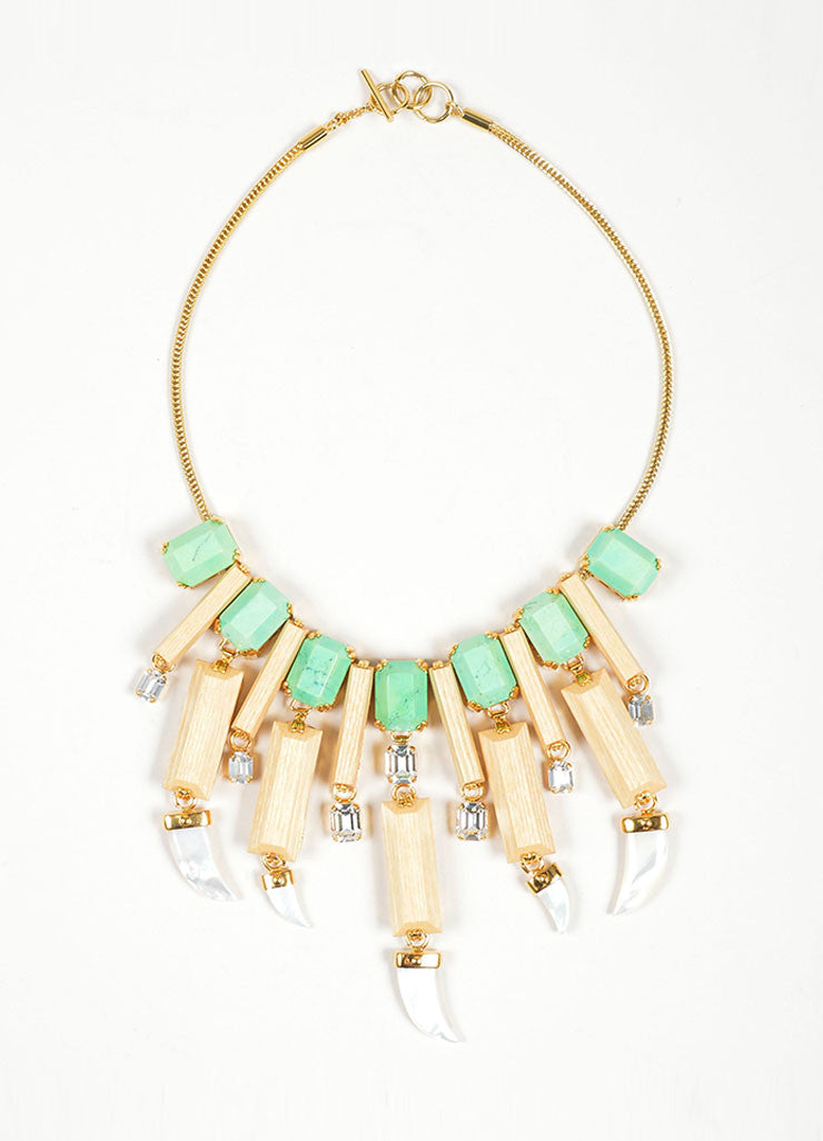 "Gold Toned and Green Embellished House of Lavande ""Everglades"" Necklace Frontview"