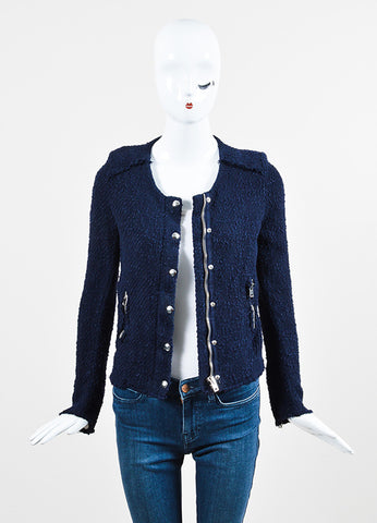 Navy Blue IRO Wool Boucle Silver Toned Zip Snap Jacket Frontview