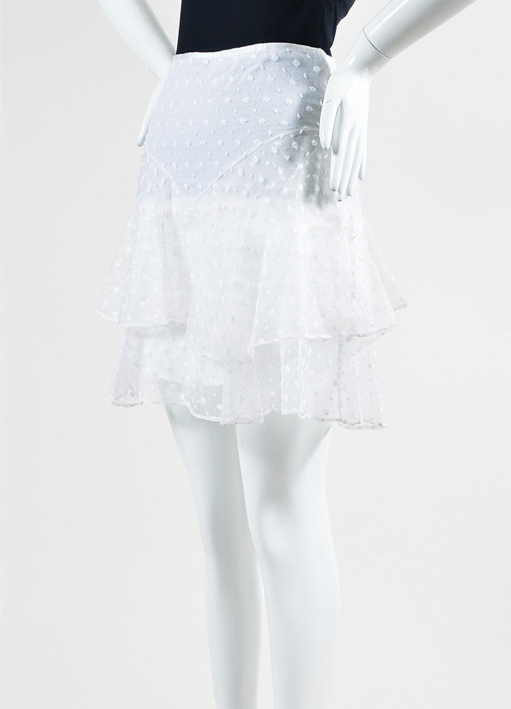 White Isabel Marant Silk Embroidered Ruffle Skirt Side