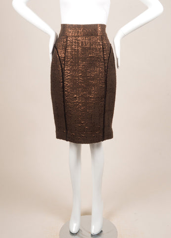 J. Mendel Brown and Copper Metallic Textured Knit Paneled Pencil Skirt Frontview