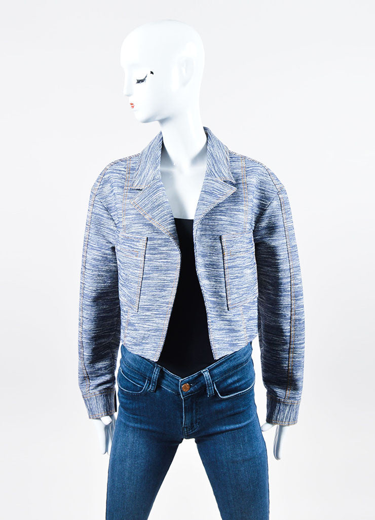 Navy and Yellow Jason Wu Denim and Tweed Cropped Jacket Frontview