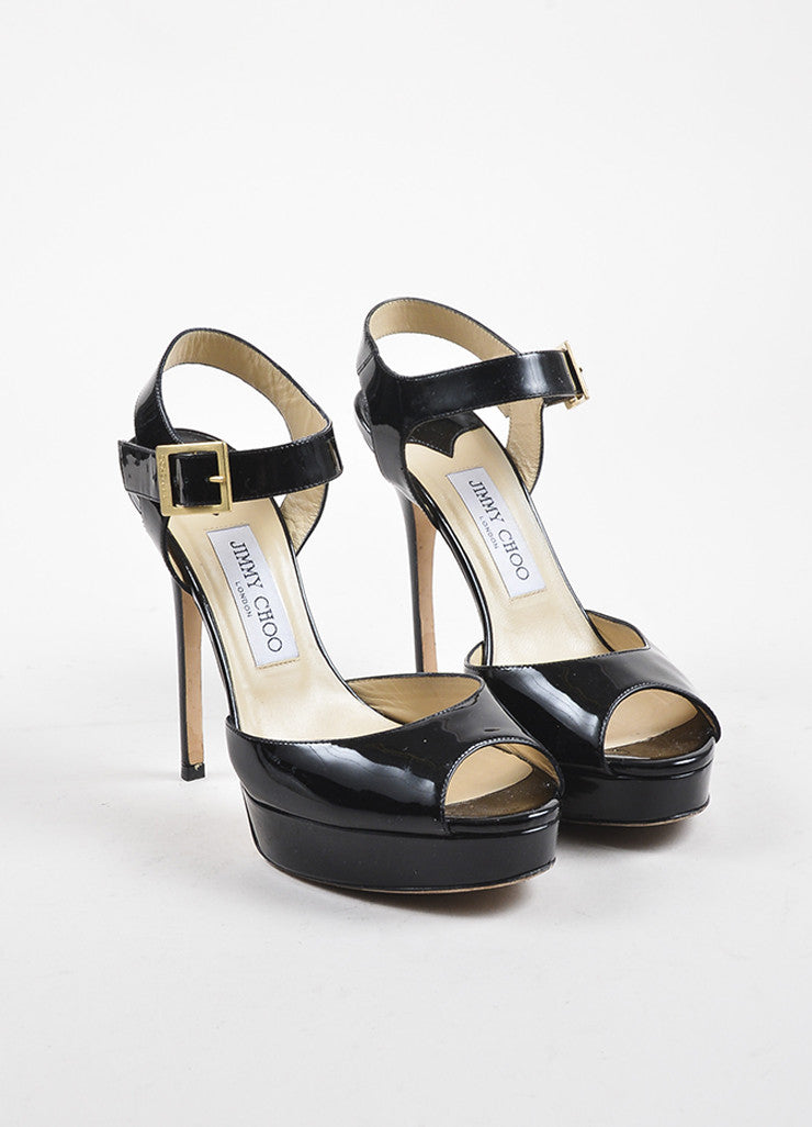 "Jimmy Choo Black Patent Leather Peep Toe ""Linda"" Platform Buckled Pumps Frontview"