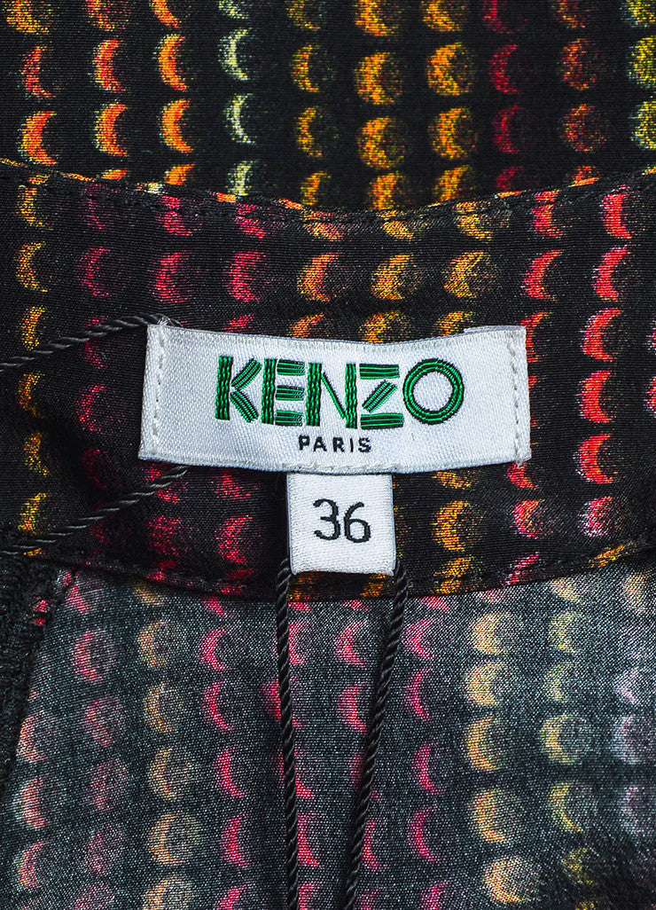Black and Multicolor Kenzo Silk Rune Print Flare Skirt Brand