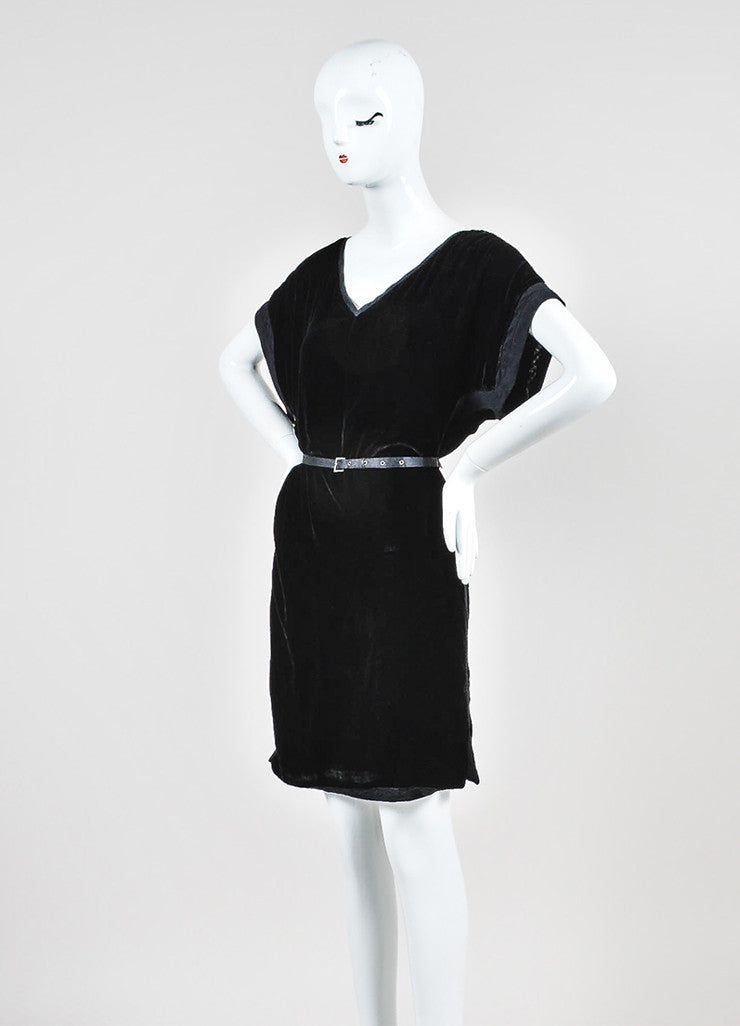 Black Lanvin Velvet Belted V-Neck Short Sleeve Dress Sideview
