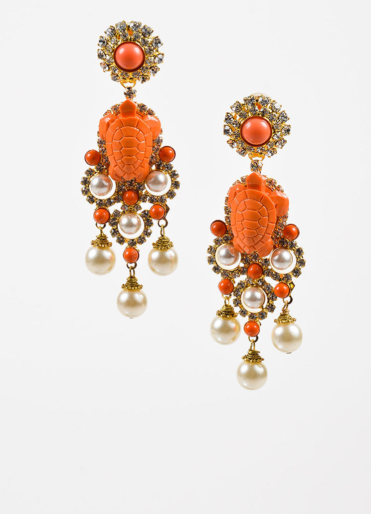 Lawrence VRBA Gold Toned and Coral Turtle Crystal Accent Chandelier Clip On Earrings Frontview