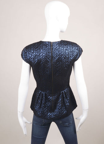 Les Copains New With Tags Blue and Black Wool Blend Metallic Peplum Cap Sleeve Top Backview