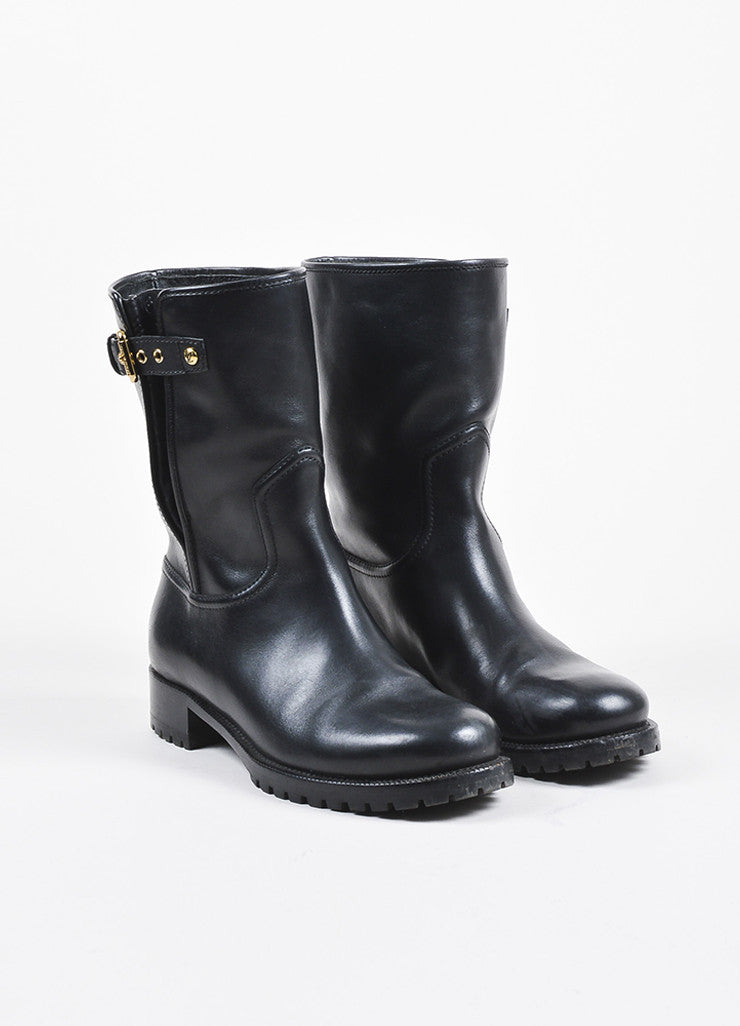 Louis Vuitton Black Leather Monogram Embossed Moto Boots Frontview