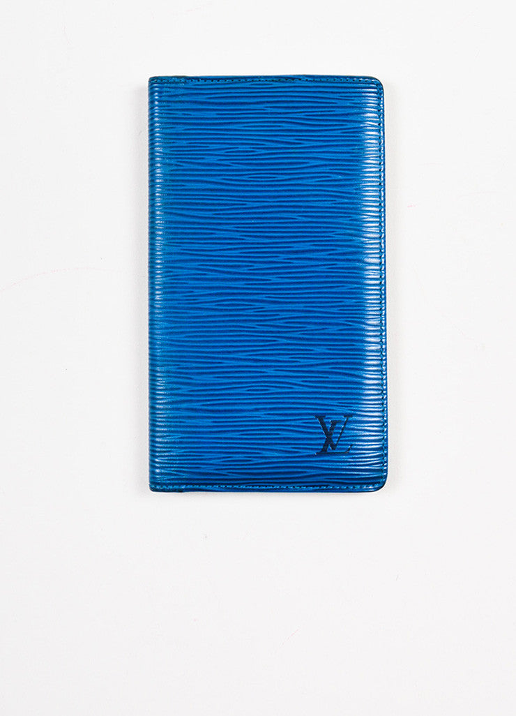 Louis Vuitton Blue Epi Leather Pocket Agenda Cover frontview