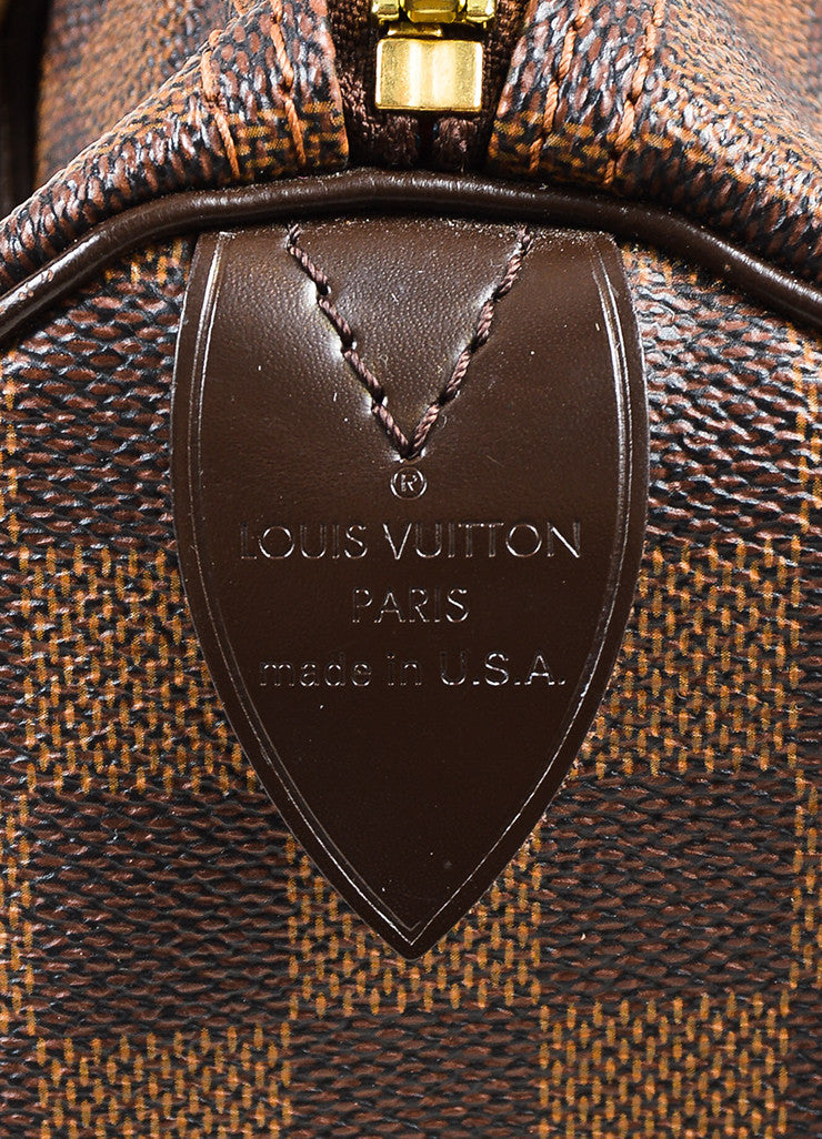 "Louis Vuitton Damier Ebene Brown Coated Canvas Leather Checkered ""Speedy 25"" Bag Brand"