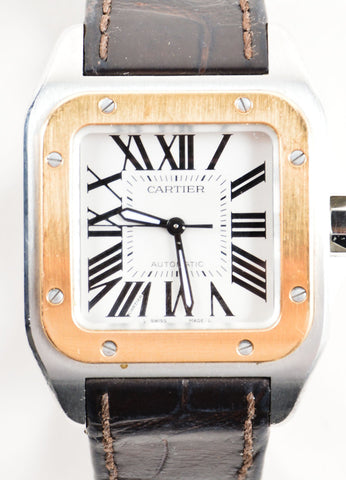 "Cartier 18K Gold and Stainless Steel ""Santos 100 XL"" Automatic Watch Detail"