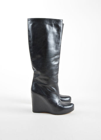 Maison Martin Margiela Black Leather Hidden Wedge and Platform Tall Boots Sideview