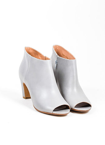 Grey Maison Martin Margiela Leather Peep Toe Booties Frontview