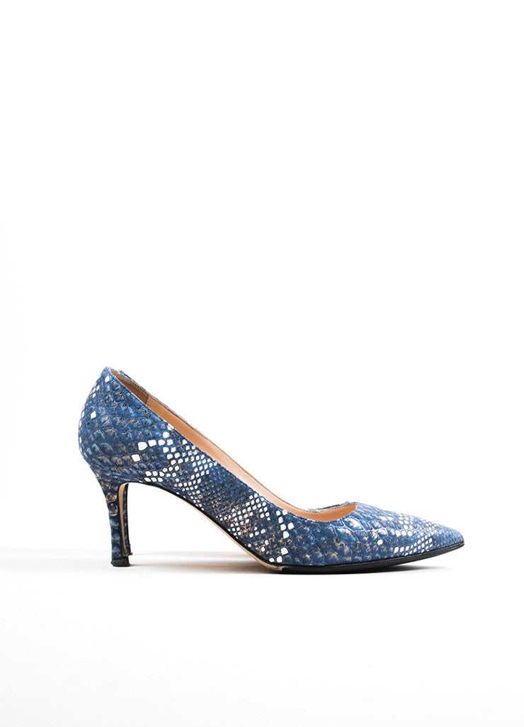 Blue and White Manolo Blahnik Snakeskin Embosssed Suede Pointed Toe Pumps Sideview