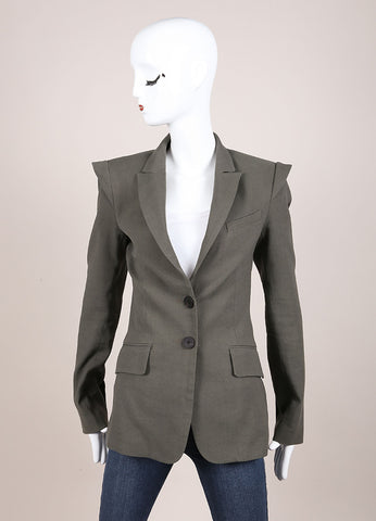 Marissa Webb Olive Green Long Fitted Blazer Frontview