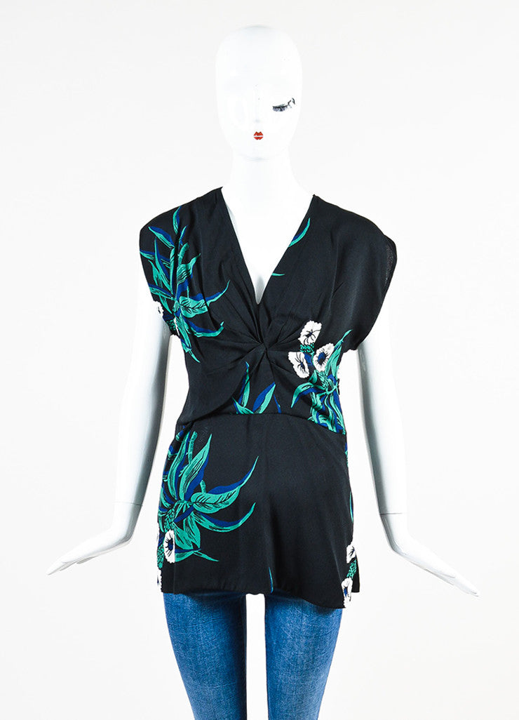 Black, Green and Navy Blue Marni Floral Print Pleated Sleeveless Top Front