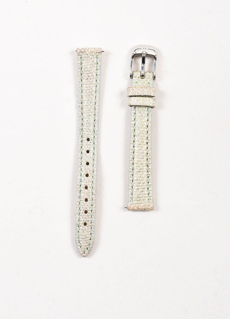 "Michele Sterling Silver Lizard Diamond ""CSX Blue Mini"" Watch Straps"