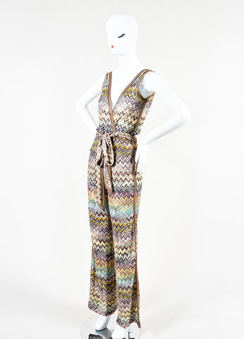 Missoni Orange Label Multicolor Zig Zag Knit Sleeveless Belted Jumpsuit Sideview