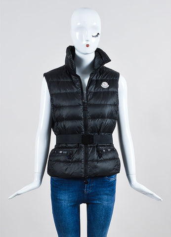 Black Moncler Down Filled Quilted Belted Puffer Vest Frontview