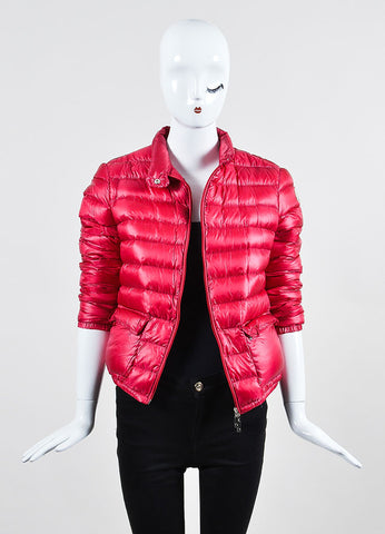 Cherry Red Moncler Channeled Puffer Stand Collar Jacket Frontview