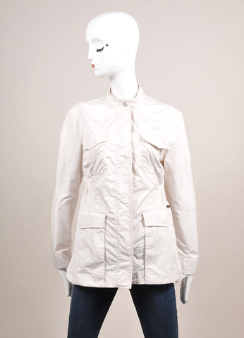 Moorer New With Tags Off White Polyester Military Jacket Frontview