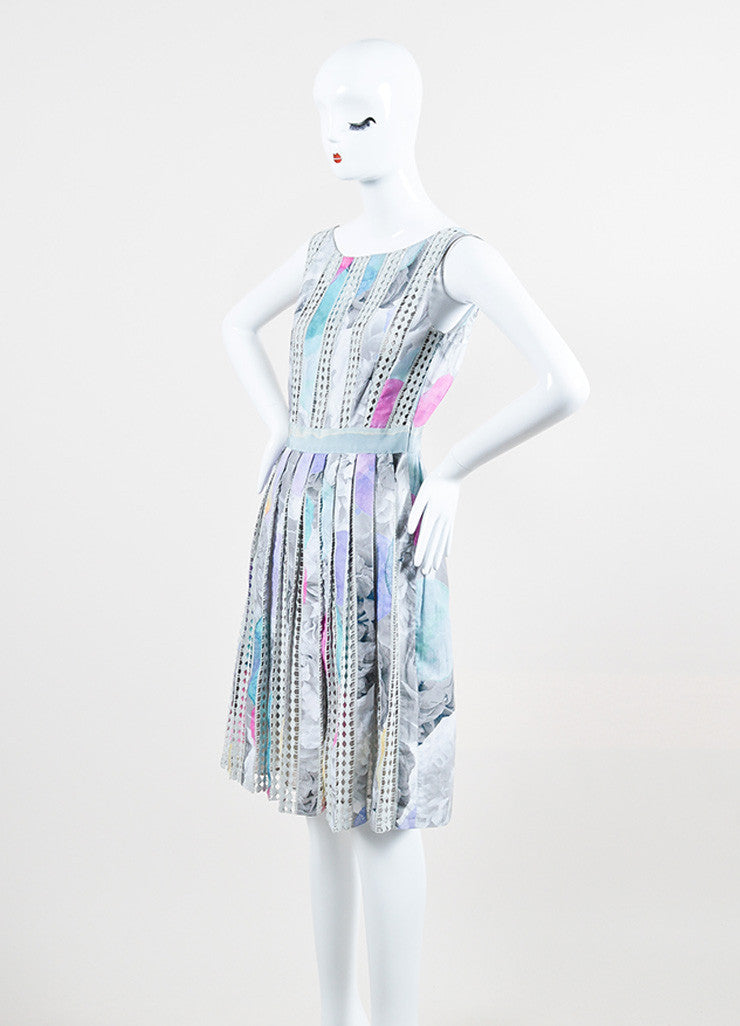 Moschino Cheap and Chic Grey and Pink Cotton Crochet Stripe Pleated Sleeveless Dress Sideview
