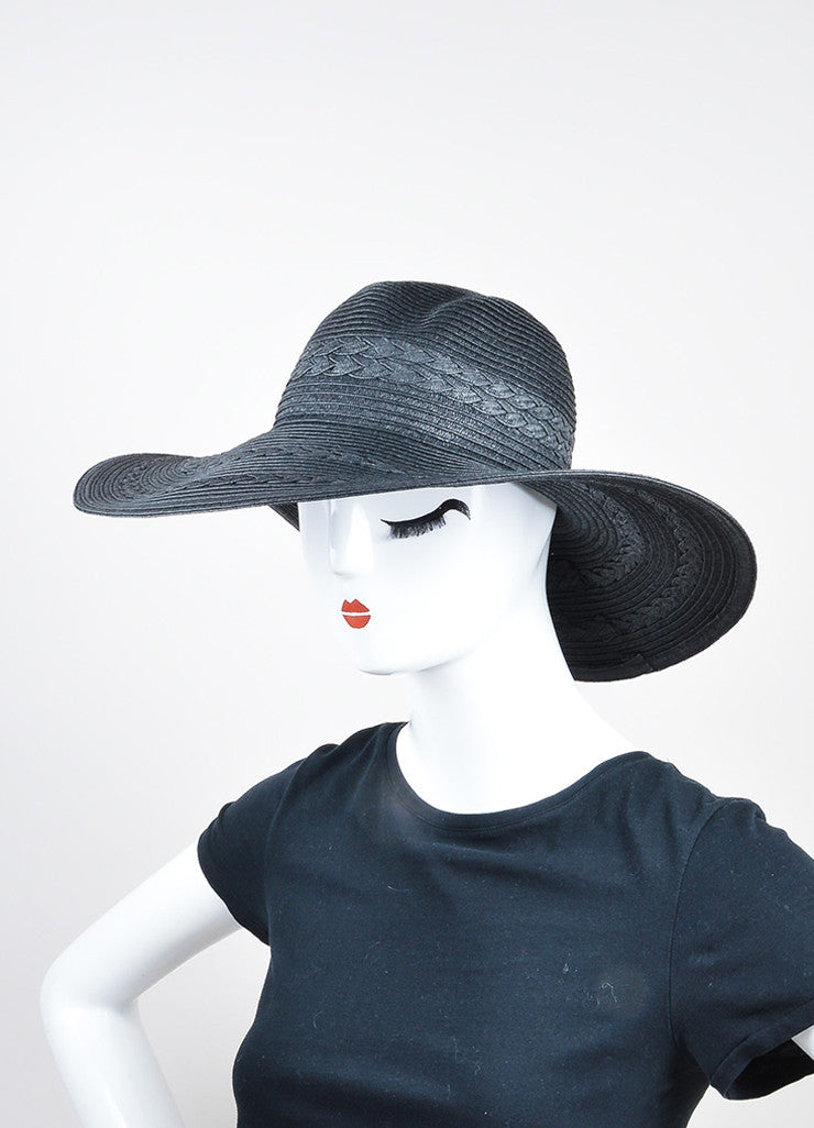 Black Mott 50 Straw Braided Floppy Brim 'Gisele' Sun Hat Sideview