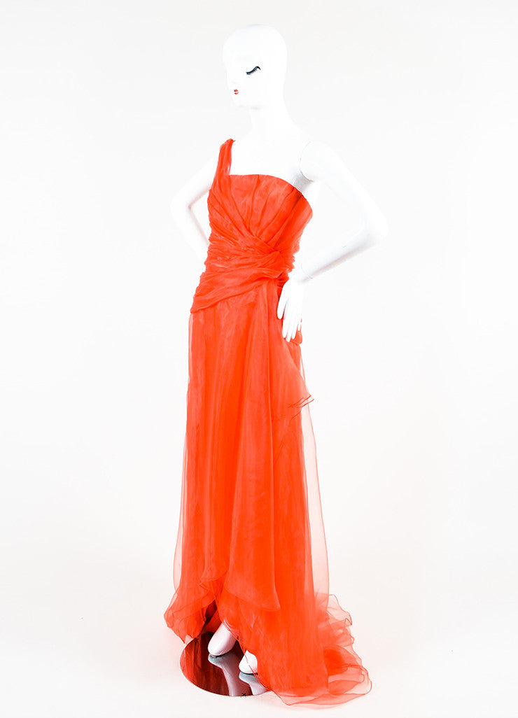 Oscar de la Renta Red One Shoulder Organza Gathered Gown Sideview