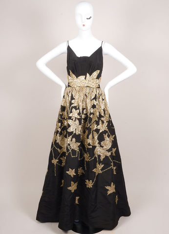 Oscar de la Renta Black and Gold Silk Leaf Embroidered Sequin Gown Frontview