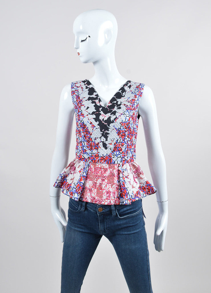 "Peter Pilotto ""Camo Pink"" Textured Silk V-Neck Sleeveless Peplum Top Frontview"