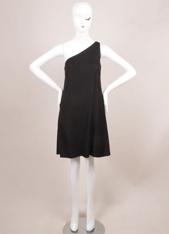 Phoebe Philo for Chloe Black Silk Knit One Shoulder Dress Frontview