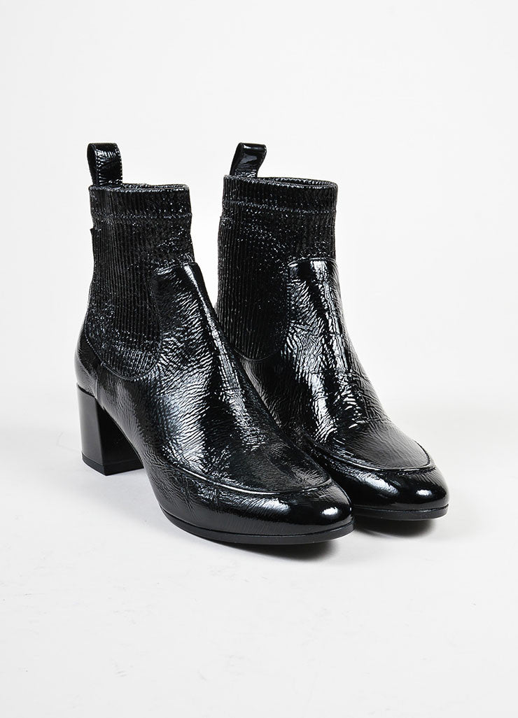 "Pierre Hardy Black Textured Patent Leather ""Ace"" Chelsea Boots Frontview"