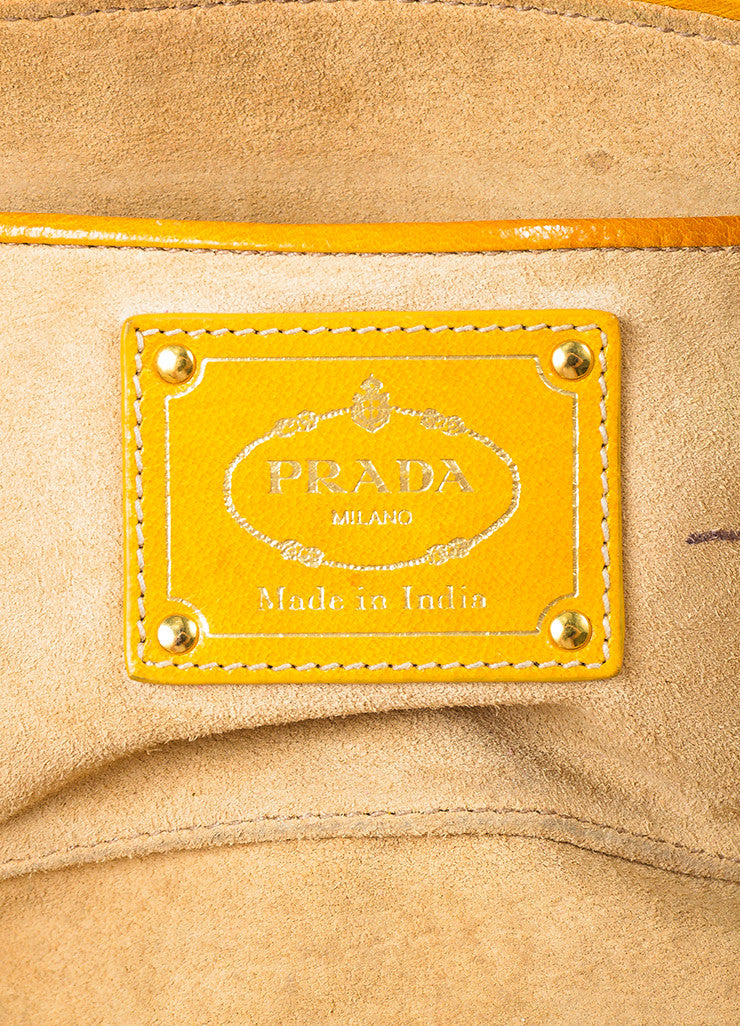"Prada Yellow and White Leather Woven Crossbody ""Made In"" Madras Tote Bag Brand"