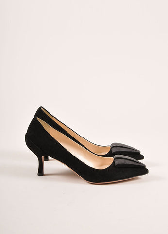 Prada Black and Grey Triangle Applique Pointed Toe Suede Leather Pumps Sideview