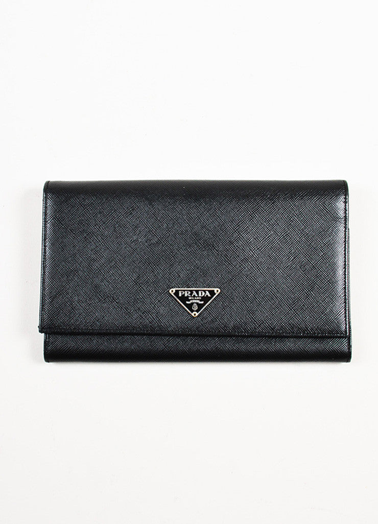 Prada Black Saffiano Leather Continental Wallet Frontview
