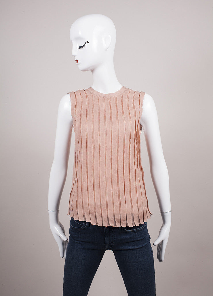 Prada Blush Pleated Tie Back Sleeveless Blouse Frontview
