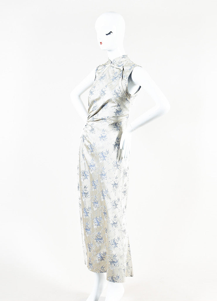 Grey Prada Floral Print Ruched Side Sleeveless Maxi Dress Side