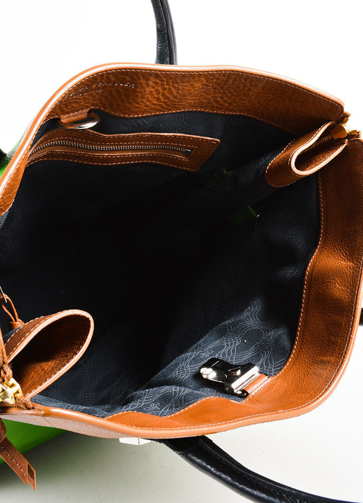 "Proenza Schouler Kelly Green, Brown, and Black Leather ""PS11"" Tote Bag Interior"