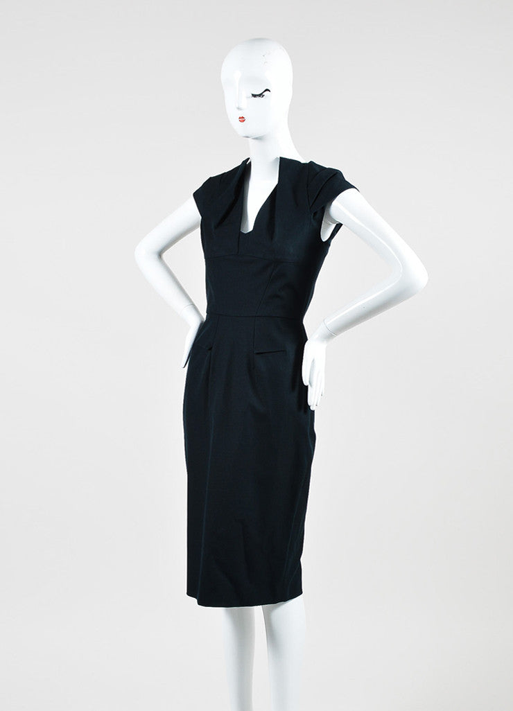 "RM by Roland Mouret ""Mona"" Black Pleated Cap Sleeve Pencil Dress Sideview"