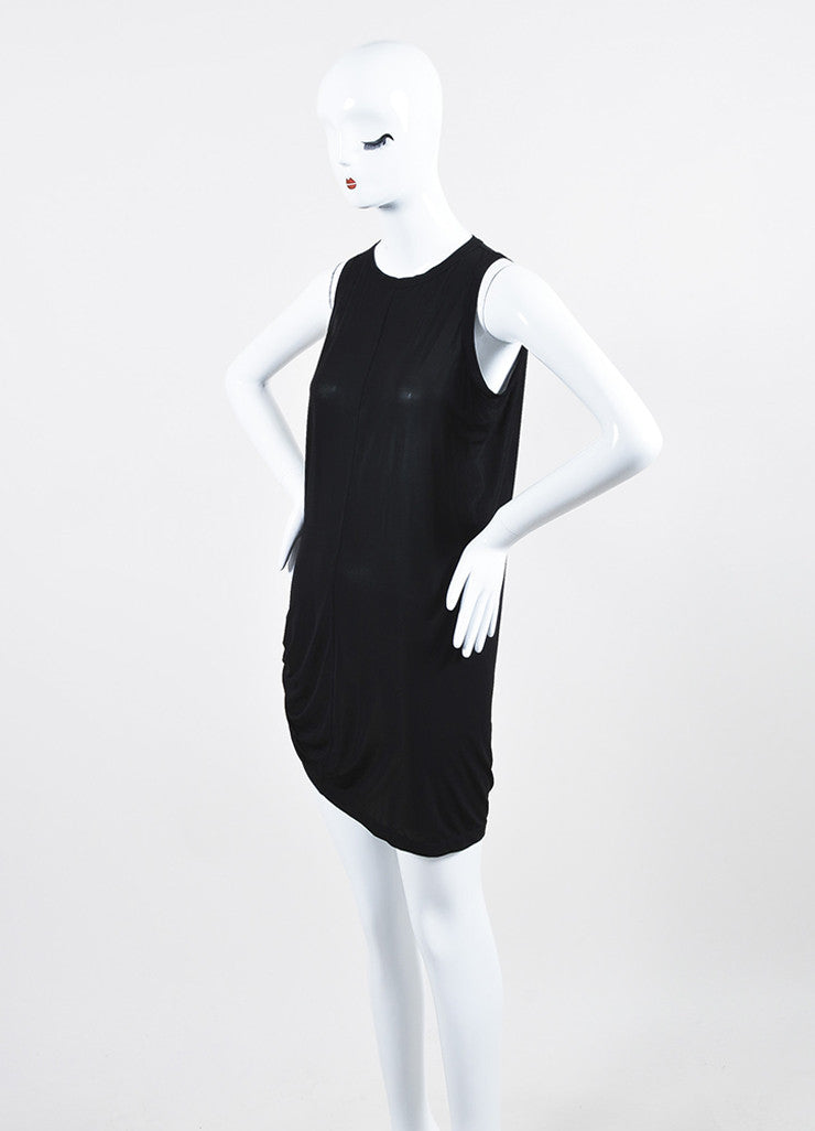 Rick Owens Black Stretch Jersey Gathered Asymmetric Sleeveless Tunic Dress Sideview