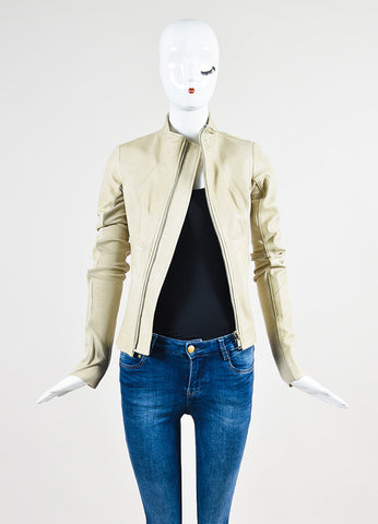Beige Rick Owens Leather Round Collar Jacket Frontview