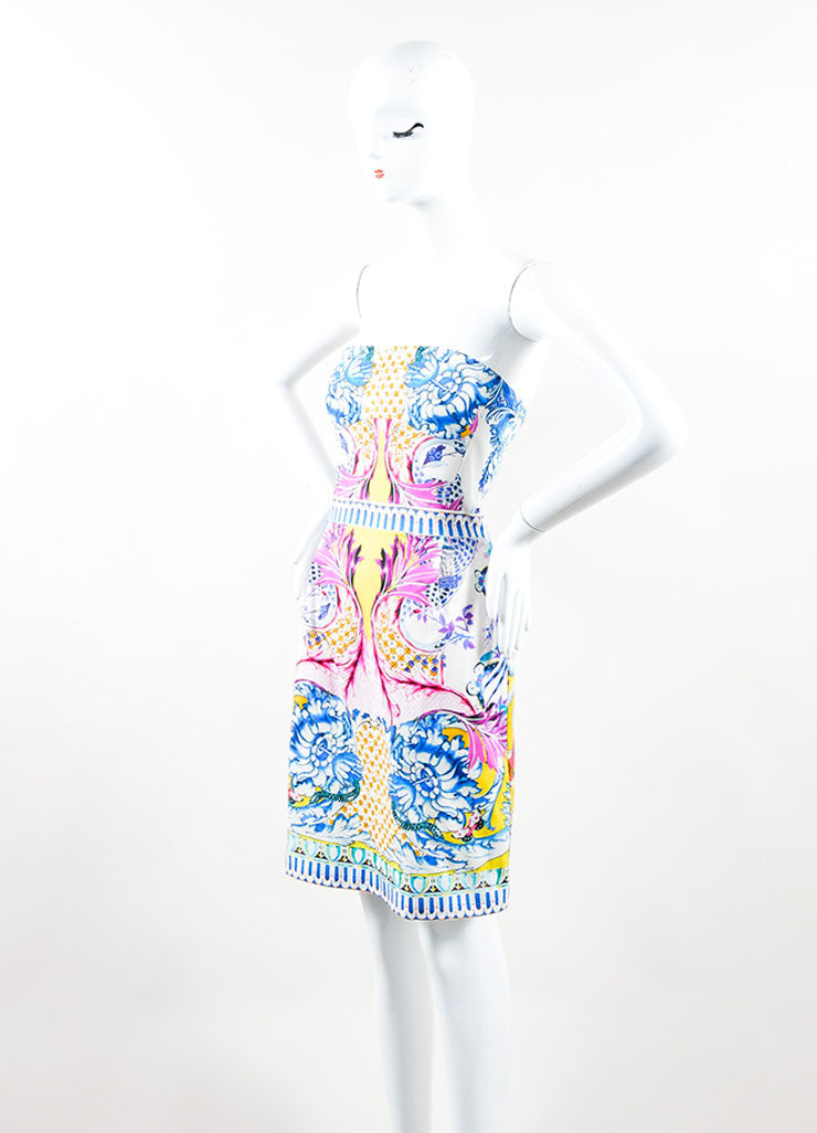 Multicolor Printed Roberto Cavalli Strapless Cocktail Dress Sideview