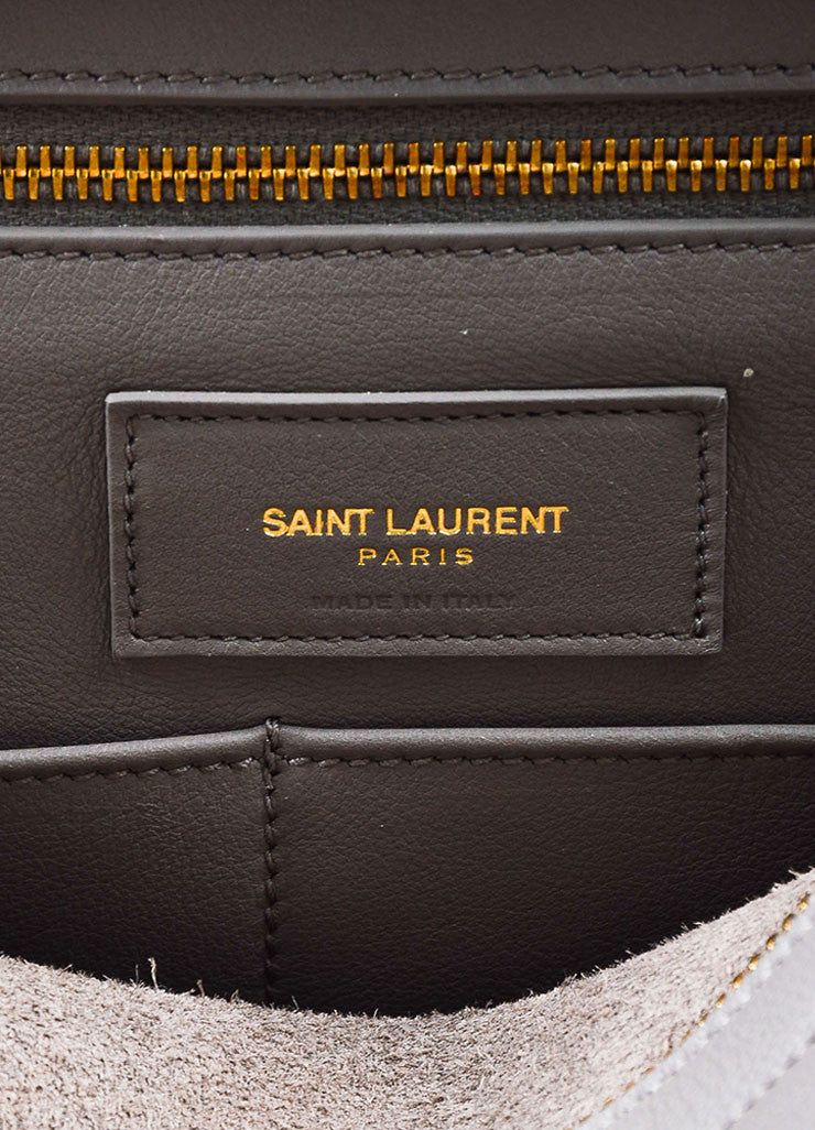 "Saint Laurent Grey Leather Gold Toned Hardware ""Medium Cabas Chyc"" Bag Brand"