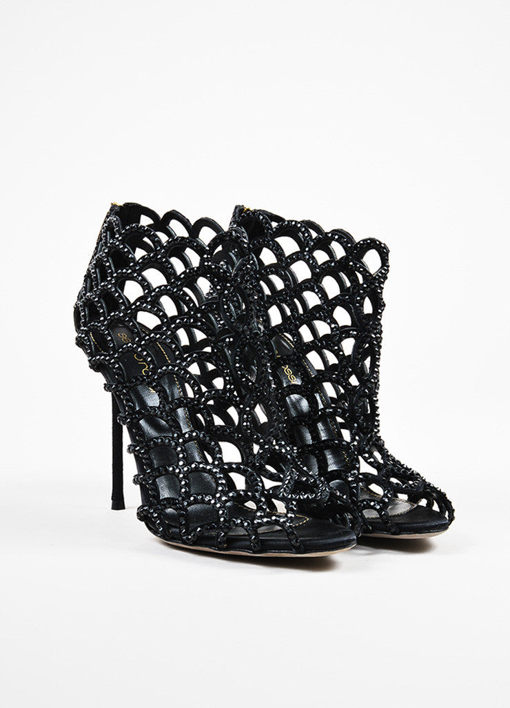 "Sergio Rossi ""Black Strass"" Suede and Crystal Scalloped Peep Toe Booties frontview"
